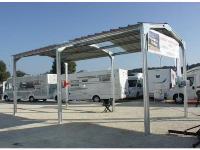 Abri camping car metal double pente m x m for Abri auto double costco
