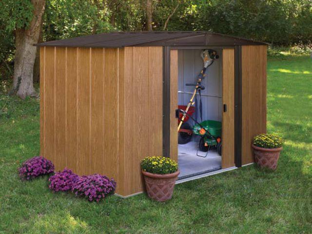Abri de jardin metallique finition m tal imitation bois - Tole pour abri de jardin ...