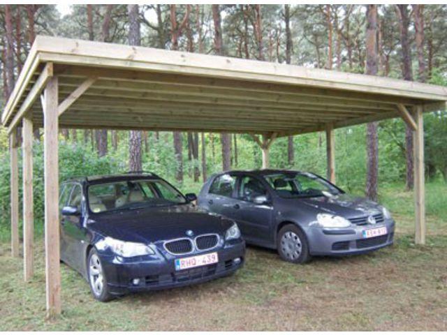 Abri voiture double toit plat id576 contact france abris for Garage de jardin pour voiture
