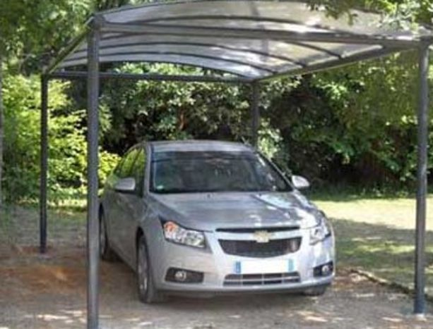 Abri voiture simple en metal gain pvc 3 x 5 m contact france abris for Prix abri voiture