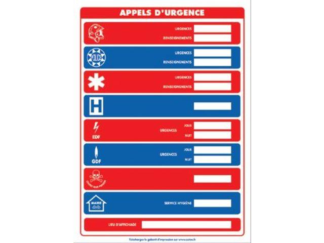 affichage obligatoire insert sur les num ros d 39 appels d 39 urgence contact seton. Black Bedroom Furniture Sets. Home Design Ideas