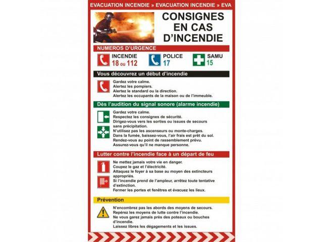affichage obligatoire consignes en cas d 39 incendie contact pro signalisation. Black Bedroom Furniture Sets. Home Design Ideas