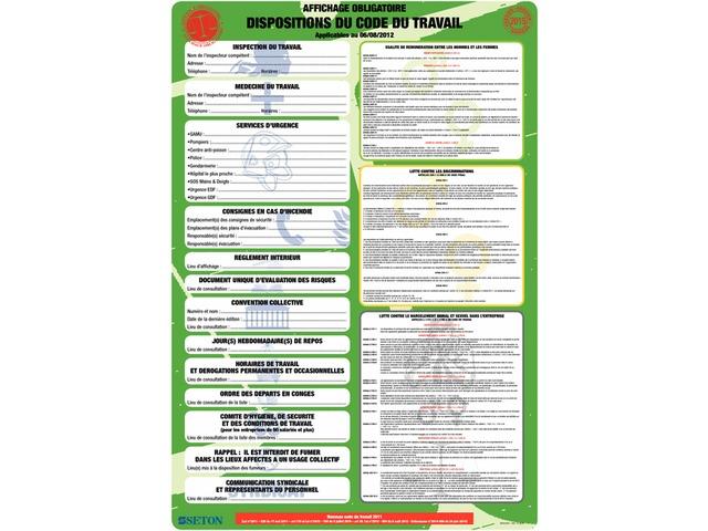 affichage obligatoire code du travail gratuit pdf