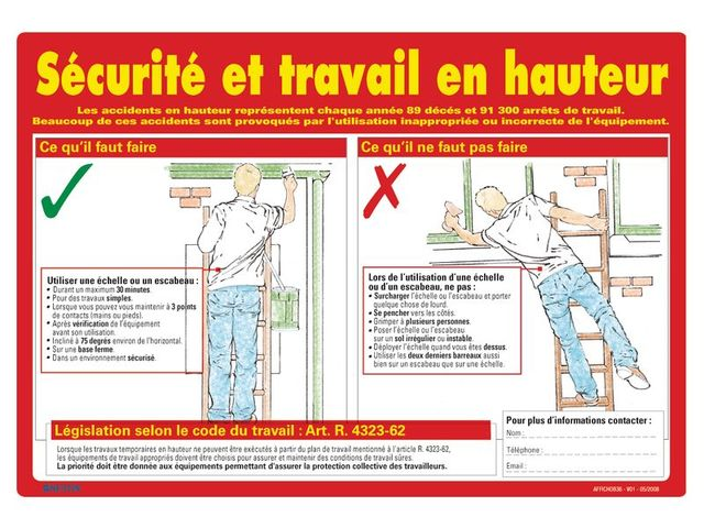 Super Affiche sur la sécurité et le travail en hauteur | Contact SETON QL59