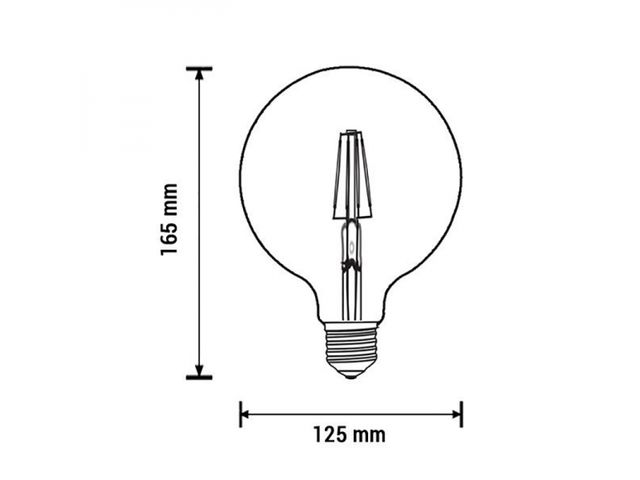 Ampoule E27 globe G125 filament LED 6,5W (50W) Optonica_LECLUBLED_2
