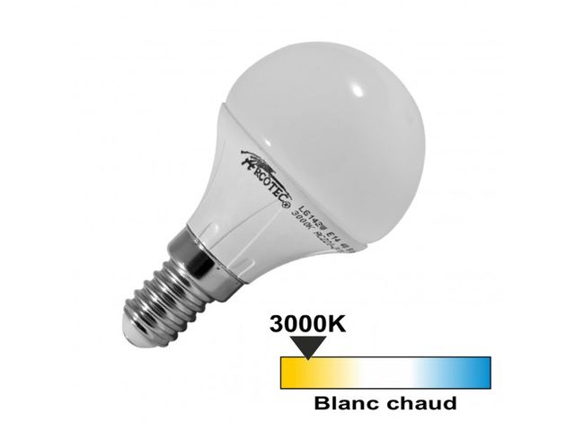Ampoule led E14 4 watt (eq. 30 watt) - Couleur eclairage - Blanc chaud 3000°K