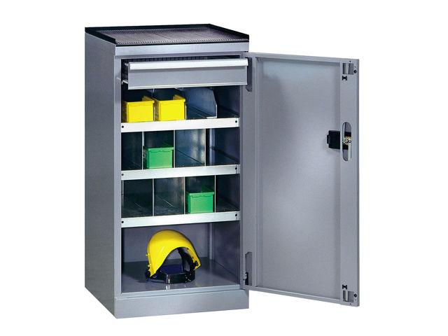Armoire de rangement atelier avec 3 tablettes et 1 tiroir   Contact SETAM RAYONNAGE ET MOBILIER ...