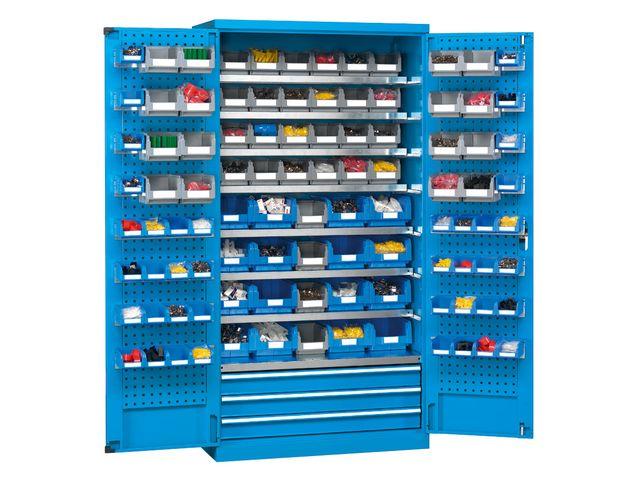 Armoire Avec Panneaux Porte Outils Et 36 Bacs Plastiques Contact Setam Rayonnage Et Mobilier Professionnel