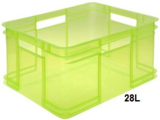 tout neuf fd014 11933 Bac de rangement atelier 28 litres - 240x430x350mm en plastique transparent  vert - OKT