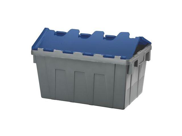 Bac De Stockage Navette Avec Couvercle En Plastique Bleu - 50