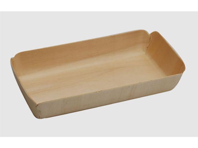 Barquette rectangulaire en bois thermoformé pour vos pâtisseries