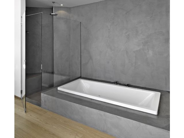 beton cire sur mur de douche id e. Black Bedroom Furniture Sets. Home Design Ideas