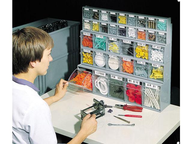 Bloc tiroir plastique 35 tiroirs avec cadre support mural contact setam rayonnage et mobilier - Bloc tiroir plastique ...