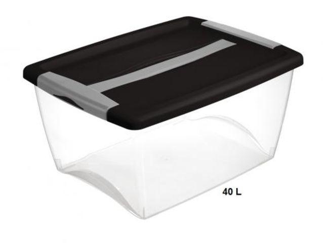 Bac plastique couvercle int gr 338x254x197mm - Boite rangement compartiment ...