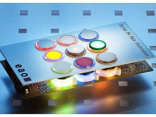 eclairage avec led pour boutons poussoirs contact eao. Black Bedroom Furniture Sets. Home Design Ideas