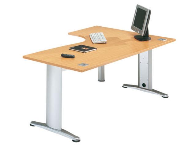 bureau 90 asym trique sesam i h tre et aluminium x mm avec retour droite et. Black Bedroom Furniture Sets. Home Design Ideas