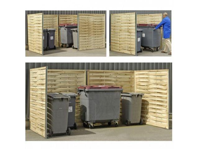 cache poubelle bois tress contact pro signalisation. Black Bedroom Furniture Sets. Home Design Ideas
