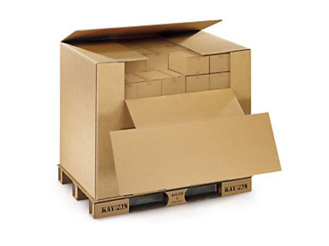 caisse palette carton tout en un pour export air routier. Black Bedroom Furniture Sets. Home Design Ideas