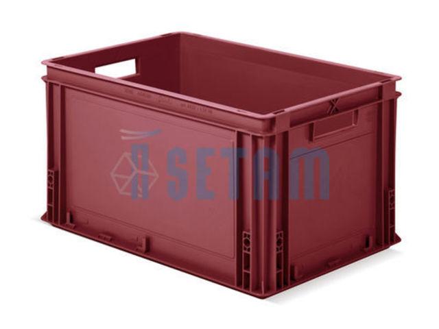 caisse plastique rouge grand volume 60 litres avec poign es contact setam rayonnage et. Black Bedroom Furniture Sets. Home Design Ideas