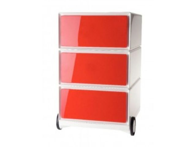 Caisson Mobile Easy 3 Tiroirs, Rouge | Contact Mon Bureau Et Moi