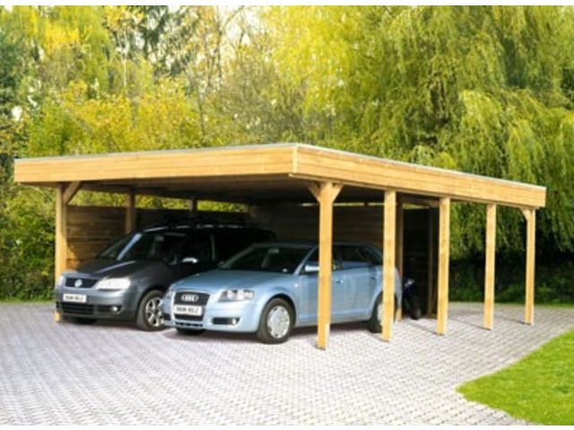 Carport double avec atelier id554 contact france abris for Abri de voiture en kit