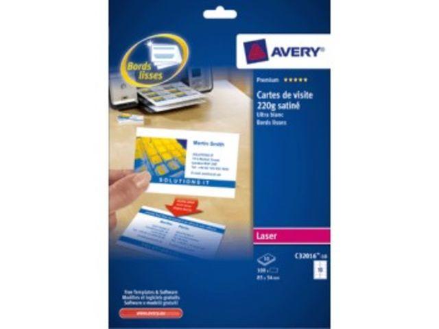 Carte De Visite Avery 85 X 54 Mm 195 Gr Pochette 250 C32010 25