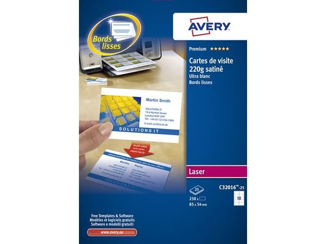 Carte De Visite Laser Avery Quick And Clean Format 85 X 54 Mm Blanche
