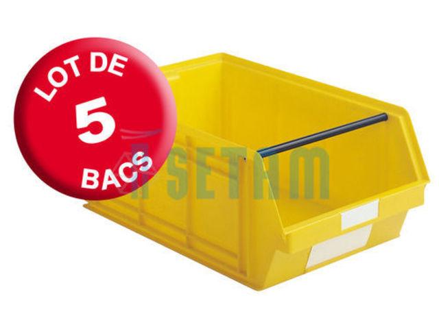 carton 5 bacs plastiques bec 88 litres jaune contact setam rayonnage et mobilier professionnel. Black Bedroom Furniture Sets. Home Design Ideas