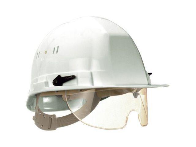casque de chantier avec lunette incolore coiffe textile. Black Bedroom Furniture Sets. Home Design Ideas