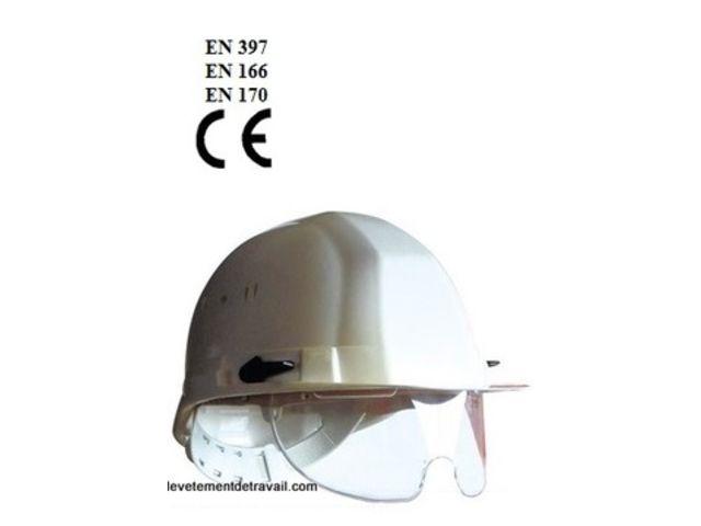 casque de chantier avec lunettes int gr es contact fb. Black Bedroom Furniture Sets. Home Design Ideas
