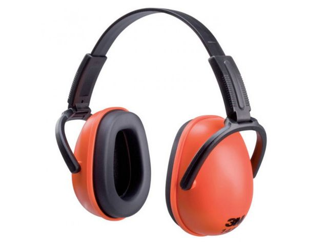 Casque de protection auditive orange et pliable
