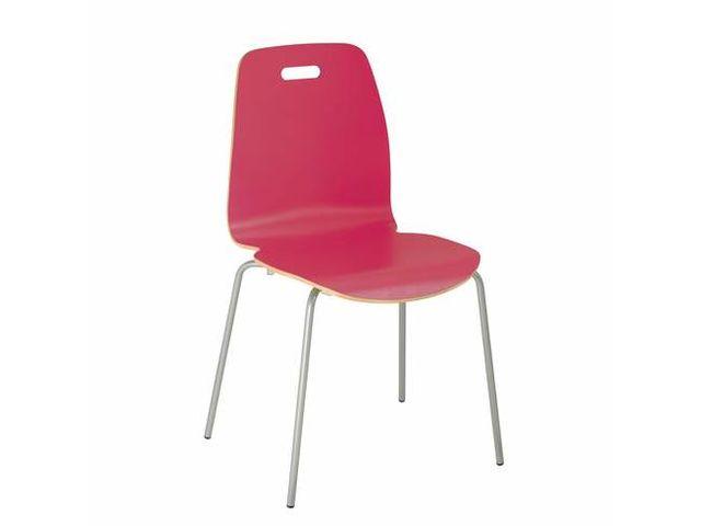 Chaise coque bois verni couleur pi tement tube m tal contact maxiburo - Chaise metal couleur ...