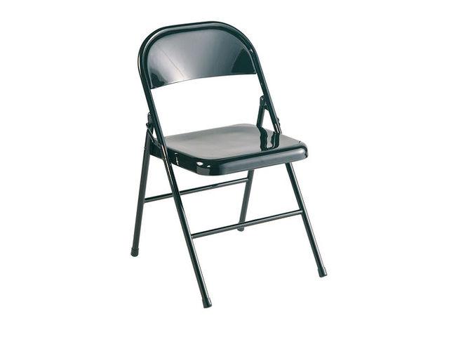 Chaise pliante carus en t le d 39 acier noir contact setam for Chaise tole