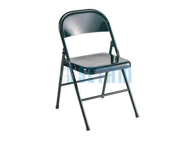 chaise pliante en m tal coloris noir contact setam rayonnage et mobilier professionnel. Black Bedroom Furniture Sets. Home Design Ideas