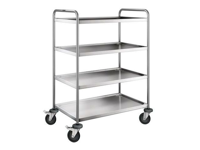 Chariot inox - 4 plateaux - Force 120 kg
