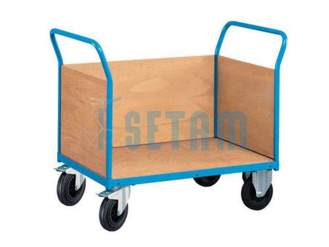 Chariot Transport Bois - Chariot transport 3 parois pleines en bois Contact SETAM RAYONNAGE ET MOBILIER PROFESSIONNEL