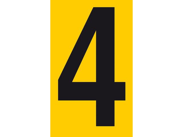 chiffre adh u00e9sif h 100 x l 60 mm n u00b0 4 noir sur fond jaune