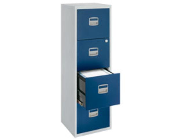 Classeur budget gris 4 tiroirs pour dossiers suspendus - Classeur a tiroirs pour dossiers suspendus ...