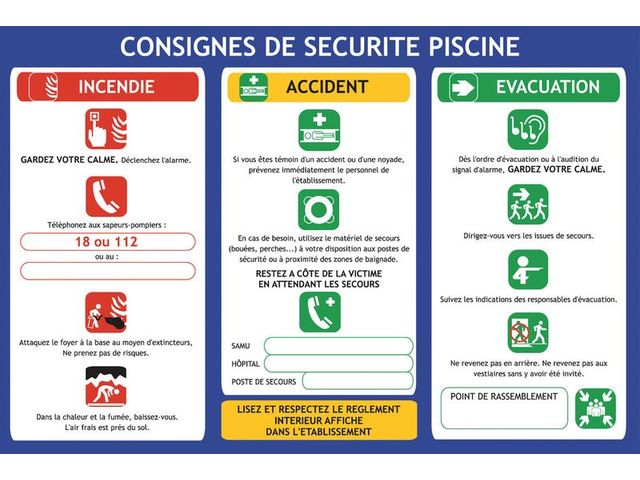 Consignes de s curit la piscine contact seton for Reglementation securite piscine