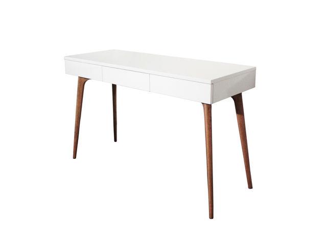 Console bureau design natura bois blanc contact sodezign com for Bureau blanc en bois