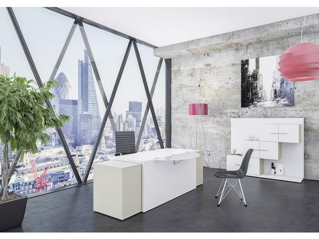 Console bureau design natura en bois noir et teck contact sodezign.com