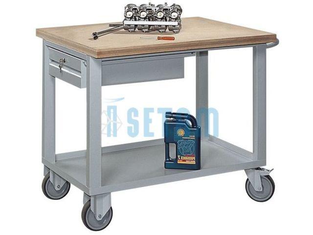 Desserte roulante plateaux avec tiroir charge 500 kg contact setam rayonn - Desserte avec tiroir ...