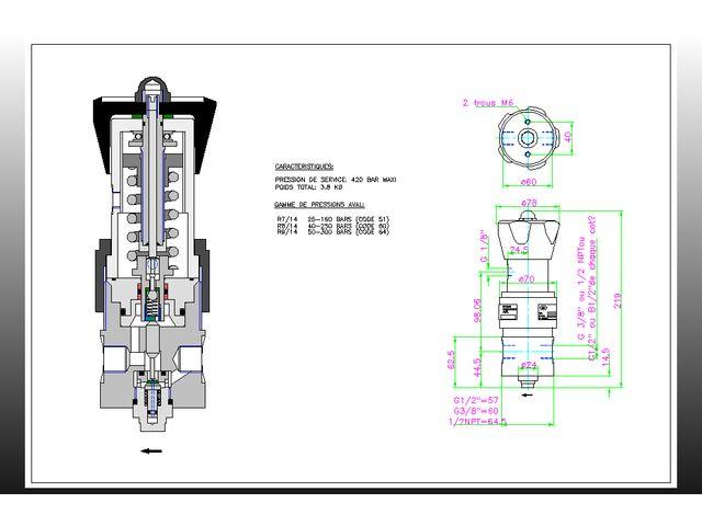 detendeur regulateur de pression amont 420 b aval 1 5. Black Bedroom Furniture Sets. Home Design Ideas