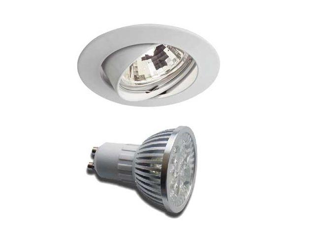 Gu10 Led Encastré Orientable 230vLampe Spot 45w Finition Blanc pUzMSV