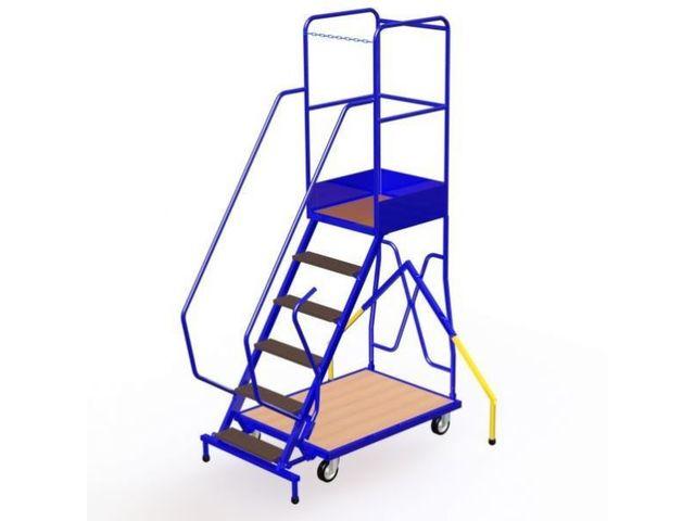escabeau roulant 6 marches avec stabilisateurs contact. Black Bedroom Furniture Sets. Home Design Ideas
