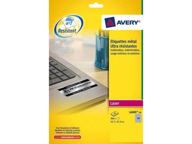 480 /Étiquettes ultra-r/ésistantes laser Blanc 63,5 x 33,9 mm L4773-20 Avery