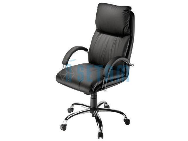 fauteuil direction cuir haut de gamme noir contact setam rayonnage et mobilier professionnel. Black Bedroom Furniture Sets. Home Design Ideas