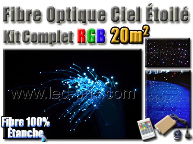 fibre optique ciel toil led rgb kit complet 20m contact sarl led prix com. Black Bedroom Furniture Sets. Home Design Ideas