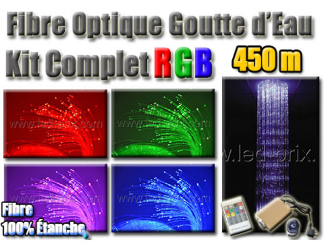 fibre optique goutte d 39 eau rgb kit complet 450 m tres contact sarl led prix com. Black Bedroom Furniture Sets. Home Design Ideas