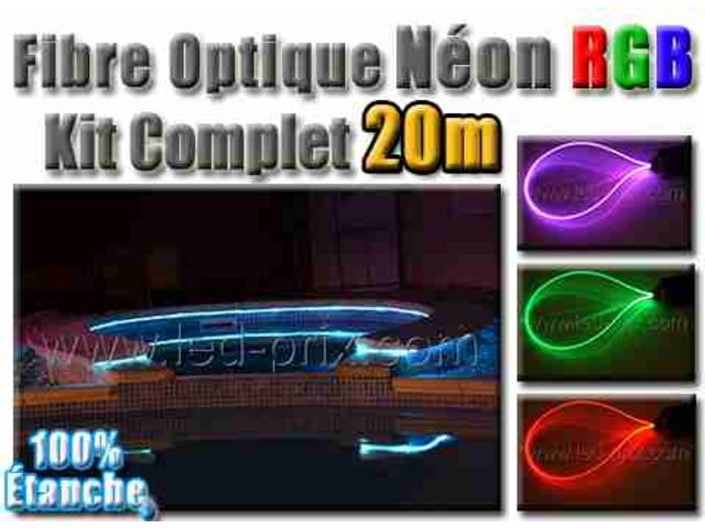 fibre optique n on rgb kit complet 20 m tres contact sarl led prix com. Black Bedroom Furniture Sets. Home Design Ideas